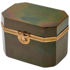 Green Lithyalin Glass and Gilt Bronze Box, Bohemian, circa 1840