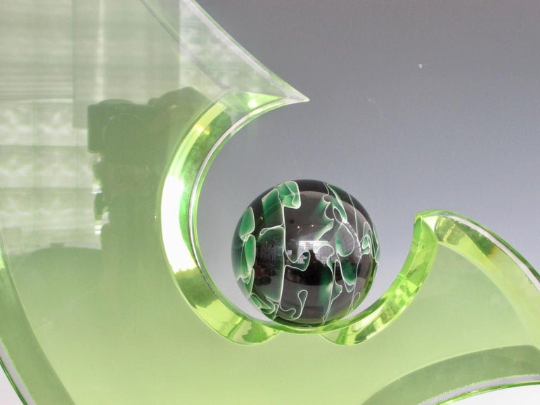Green Lucite Sculpture on Clear Acrylic Base with Swirled Ball by Shlomi Haziza For Sale 3