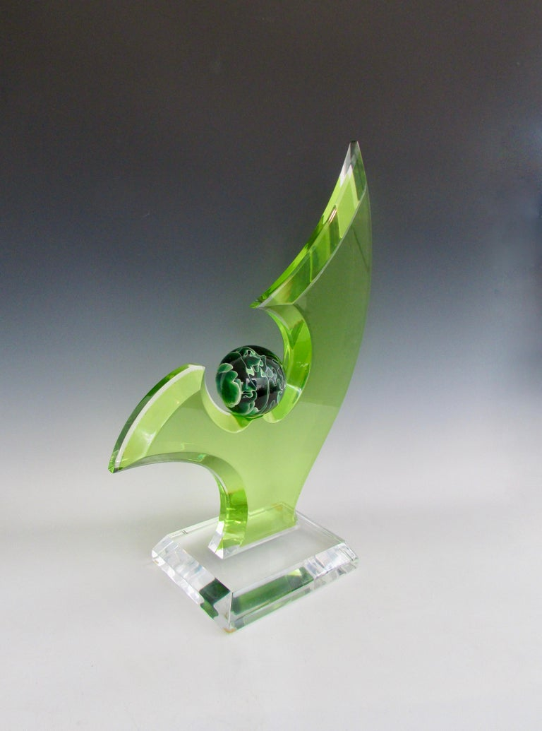 Mid-Century Modern Green Lucite Sculpture on Clear Acrylic Base with Swirled Ball by Shlomi Haziza For Sale