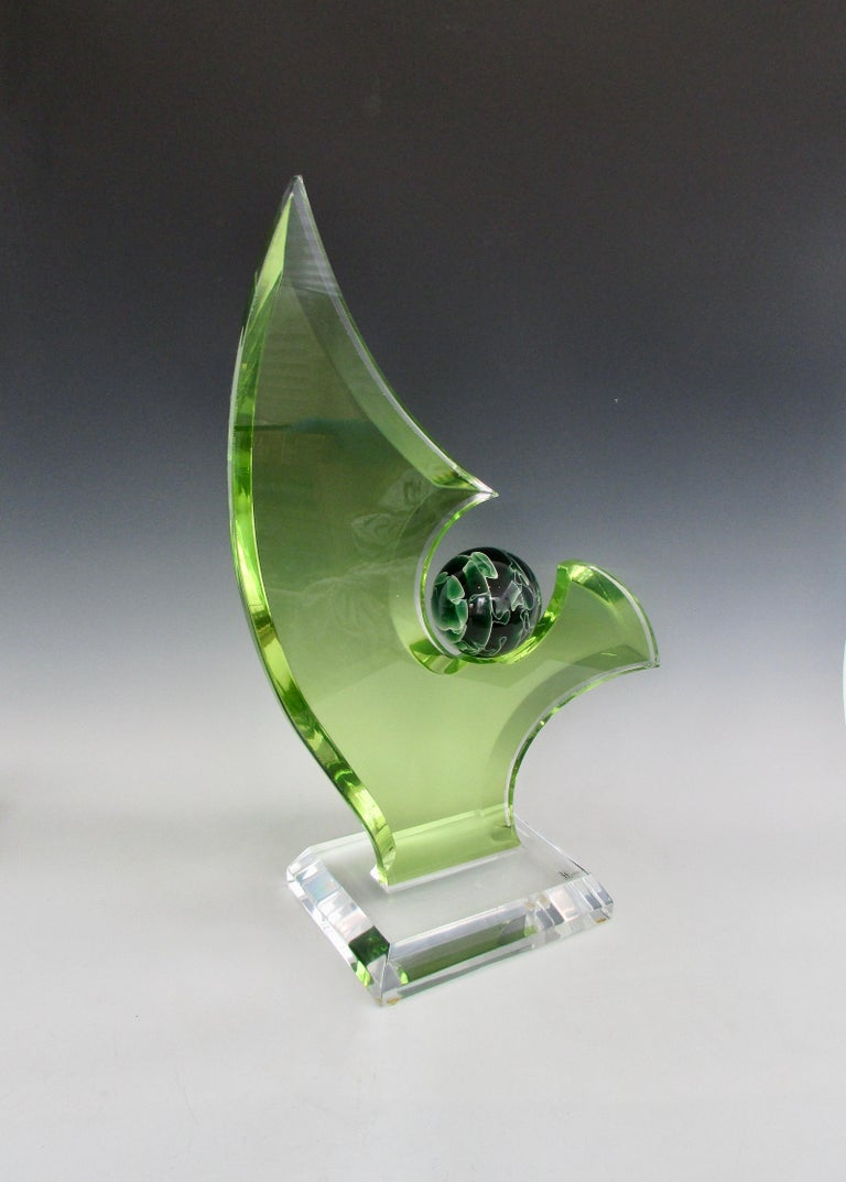 Hand-Crafted Green Lucite Sculpture on Clear Acrylic Base with Swirled Ball by Shlomi Haziza For Sale