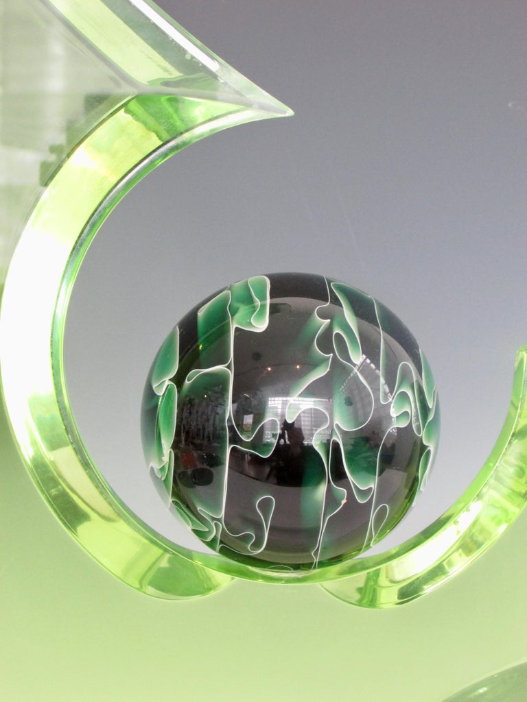 Green Lucite Sculpture on Clear Acrylic Base with Swirled Ball by Shlomi Haziza For Sale 2