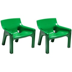 Green Magistretti 'Vicario' Armchairs