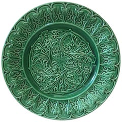 Green Majolica Acanthus Leaves Plate, circa 1880
