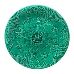 Green Majolica Daisies Plate Saint Clement, circa 1890