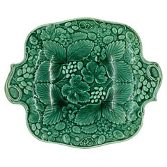 Green Majolica Footed Dessert/Strawberry Tray, English, Ca. 1880