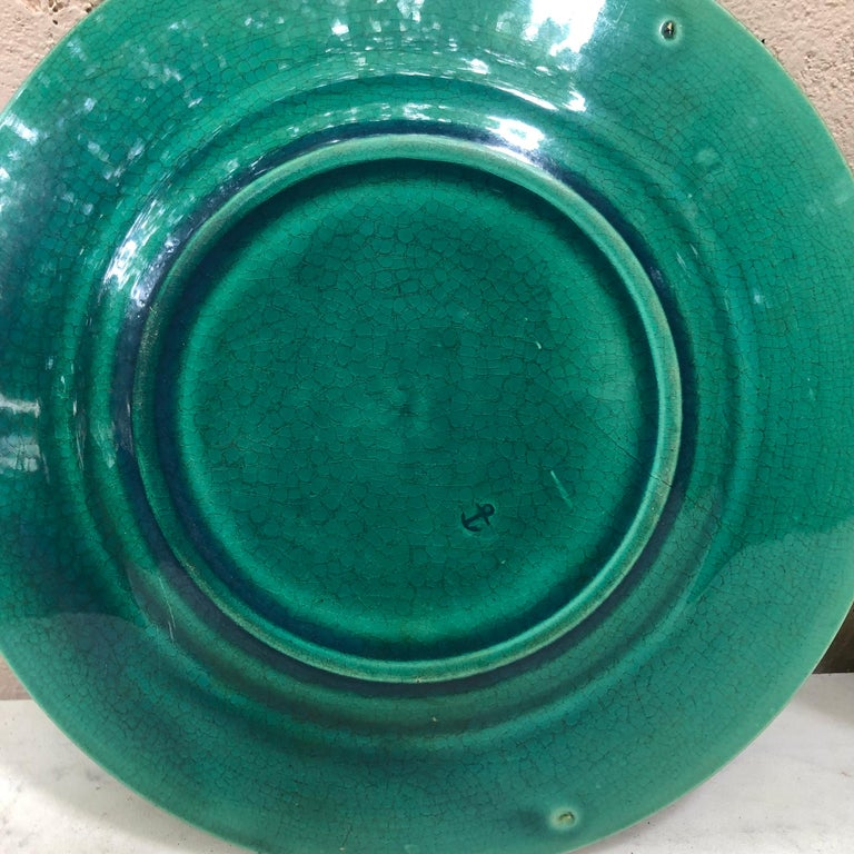 French Green Majolica Leaves Plate, circa 1890 For Sale