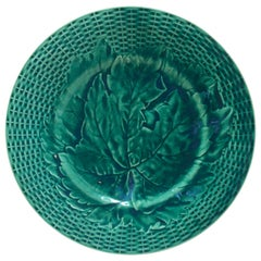 Green Majolica Leaves Plate, circa 1890