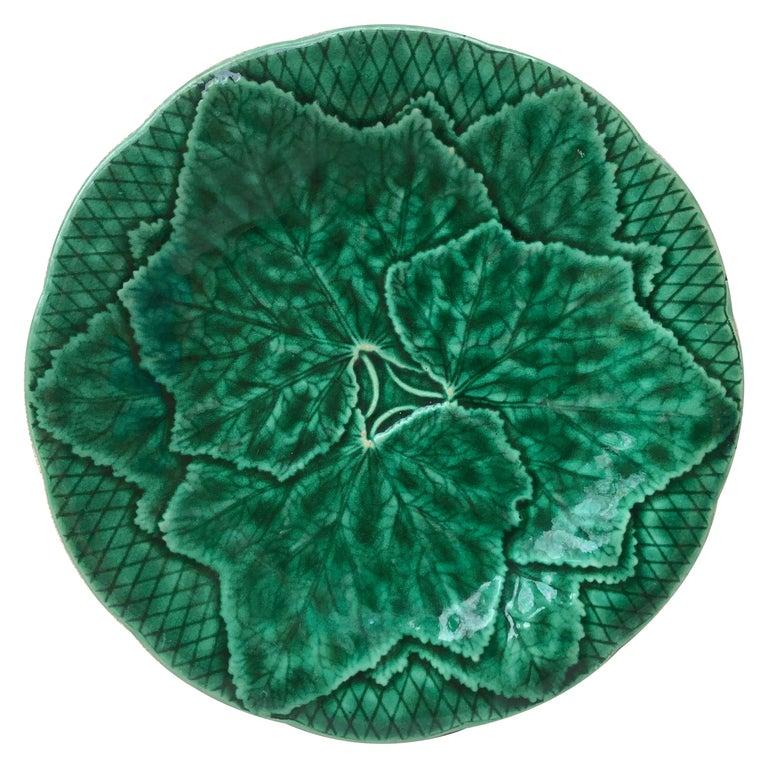 Green Majolica Leaves Plate Gien, circa 1890 For Sale