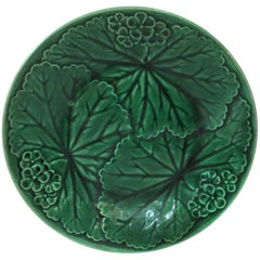 Green Majolica Plate Clairefontaine, circa 1890