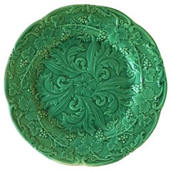Green Majolica Plate with Acanthus Leaves and Grapes, circa 1880
