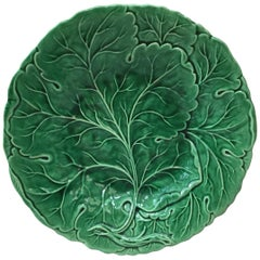 Green Majolica Plate With Leaves, circa 1880