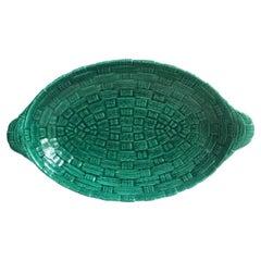 Green Majolica Platter Sarreguemines Digoin, circa 1920