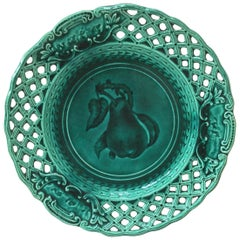 Green Majolica Reticulated Pear Plate, circa 1890