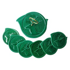 Green Majolica Set of Cheese Board and Plates With Stags Vallauris, circa 1950