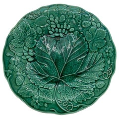 Green Majolica Strawberry Dessert Plate, English, ca. 1880