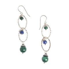 Green Malachite and Lapis Earth Earrings