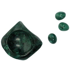 Green Malachite Decorative Dish and Objects