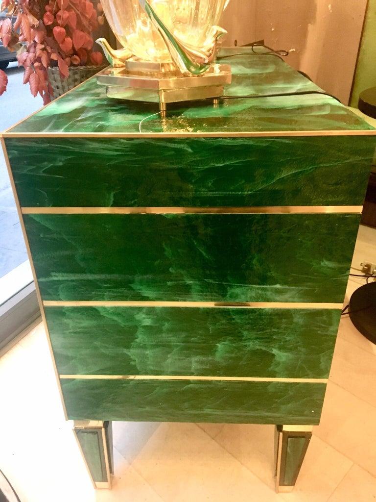 Green Malachite Effect Opaline Glass Chest Of Drawers