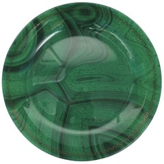 Green Malachite Glass Centerpiece Bowl with Gold Greek-Key Design
