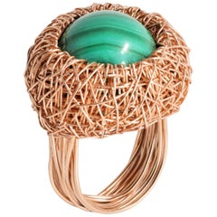 Green Malachite in 14 K Woven Rose Gold F. Cocktail Ring by the Artist Herself