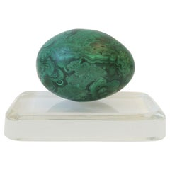 Green Malachite Sculpture and Crystal Plinth Decorative Object