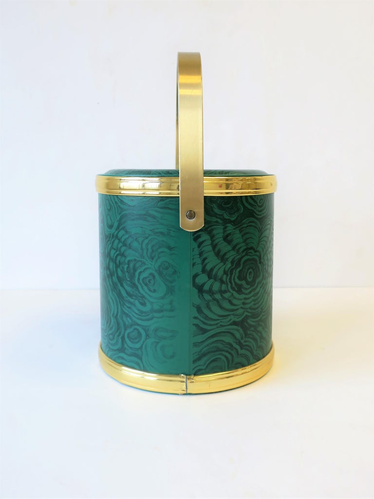 Green Malachite Style Ice Bucket by Georges Briard, circa 1970s For Sale 3