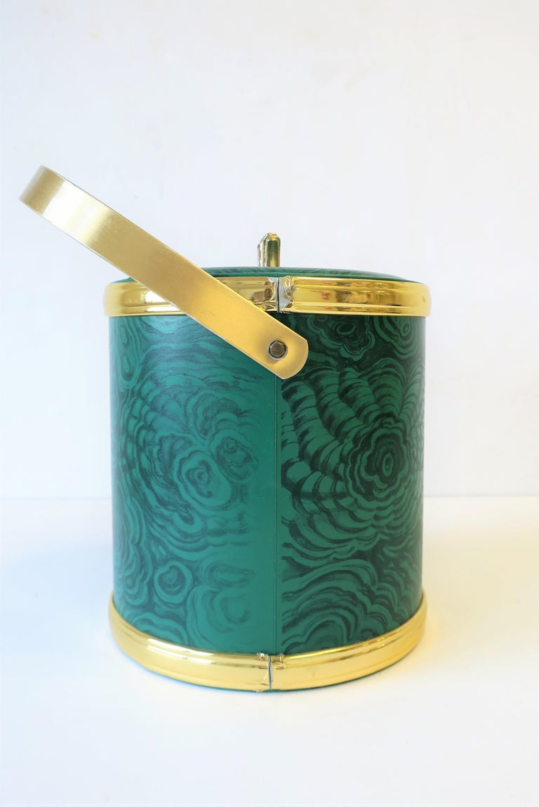 Green Malachite Style Ice Bucket by Georges Briard, circa 1970s For Sale 4