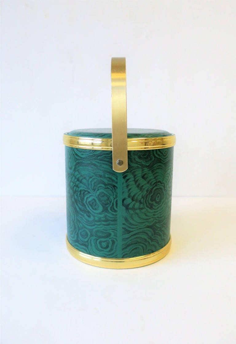 Green Malachite Style Ice Bucket by Georges Briard, circa 1970s For Sale 5