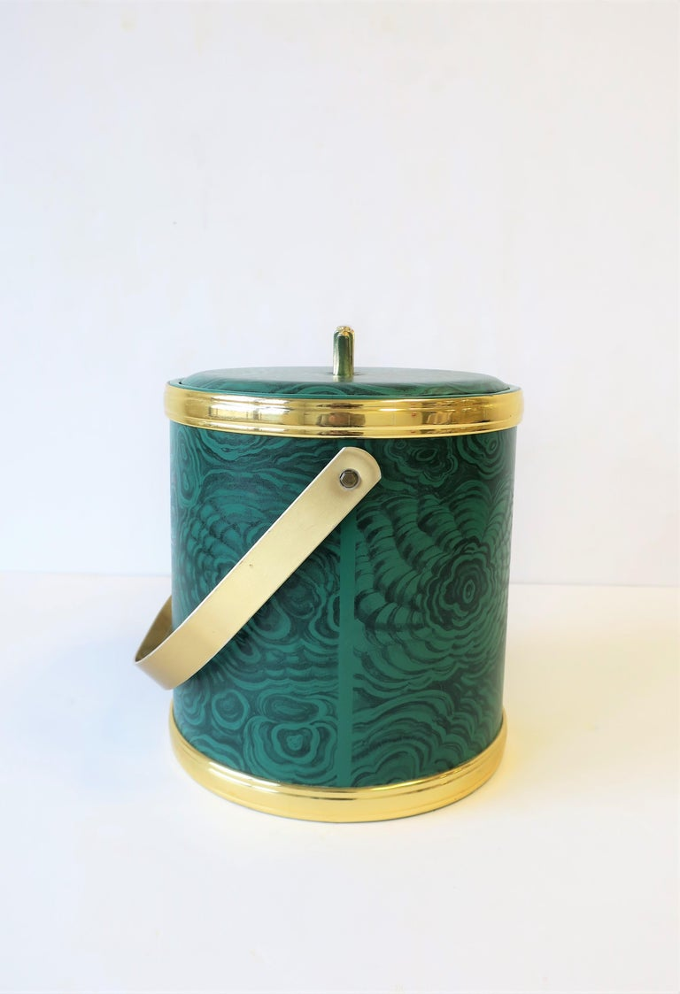 Green Malachite Style Ice Bucket by Georges Briard, circa 1970s For Sale 6