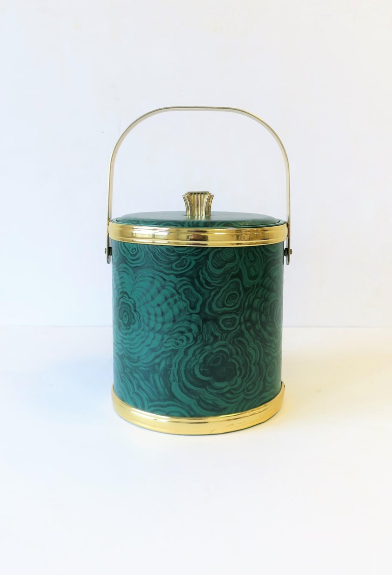 A chic green Malachite style and gold-tone ice bucket or wine/Champagne cooler by designer Georges Briard, circa late 1970s. 