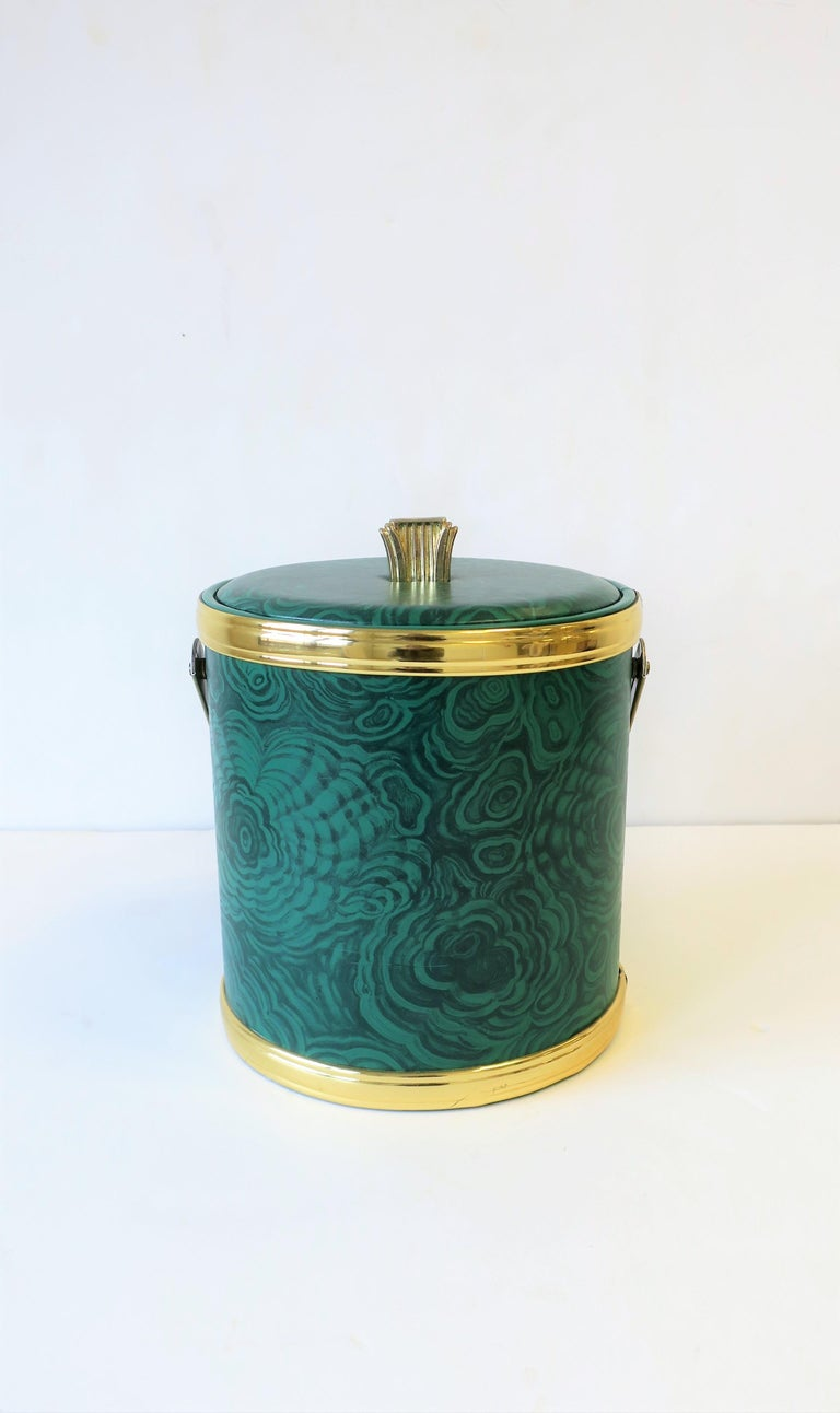 Modern Green Malachite Style Ice Bucket by Georges Briard, circa 1970s For Sale