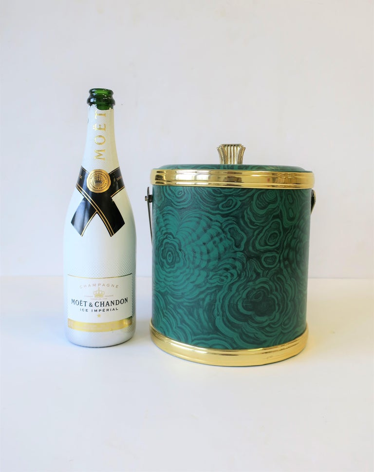 Plated Green Malachite Style Ice Bucket by Georges Briard, circa 1970s For Sale