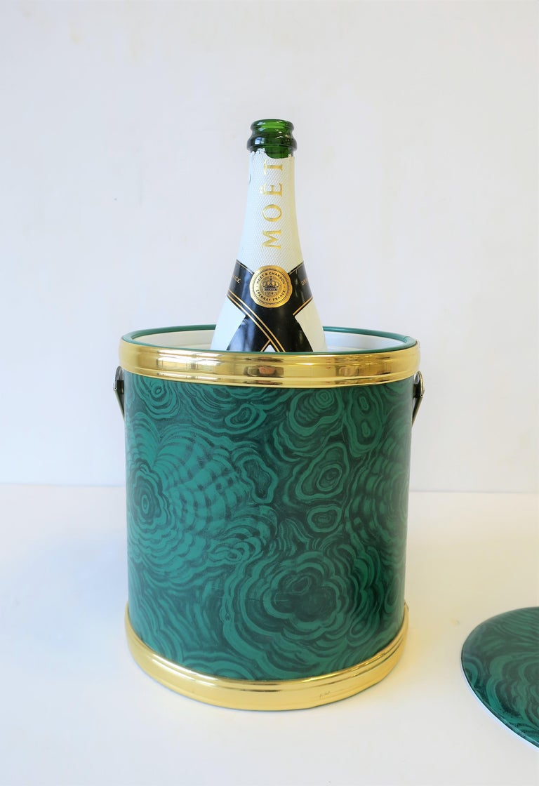 Late 20th Century Green Malachite Style Ice Bucket by Georges Briard, circa 1970s For Sale