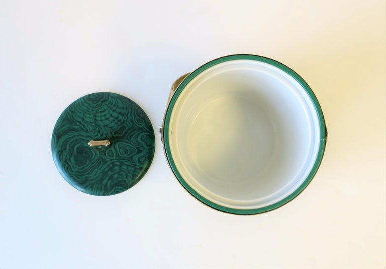 Green Malachite Style Ice Bucket by Georges Briard, circa 1970s For Sale 1
