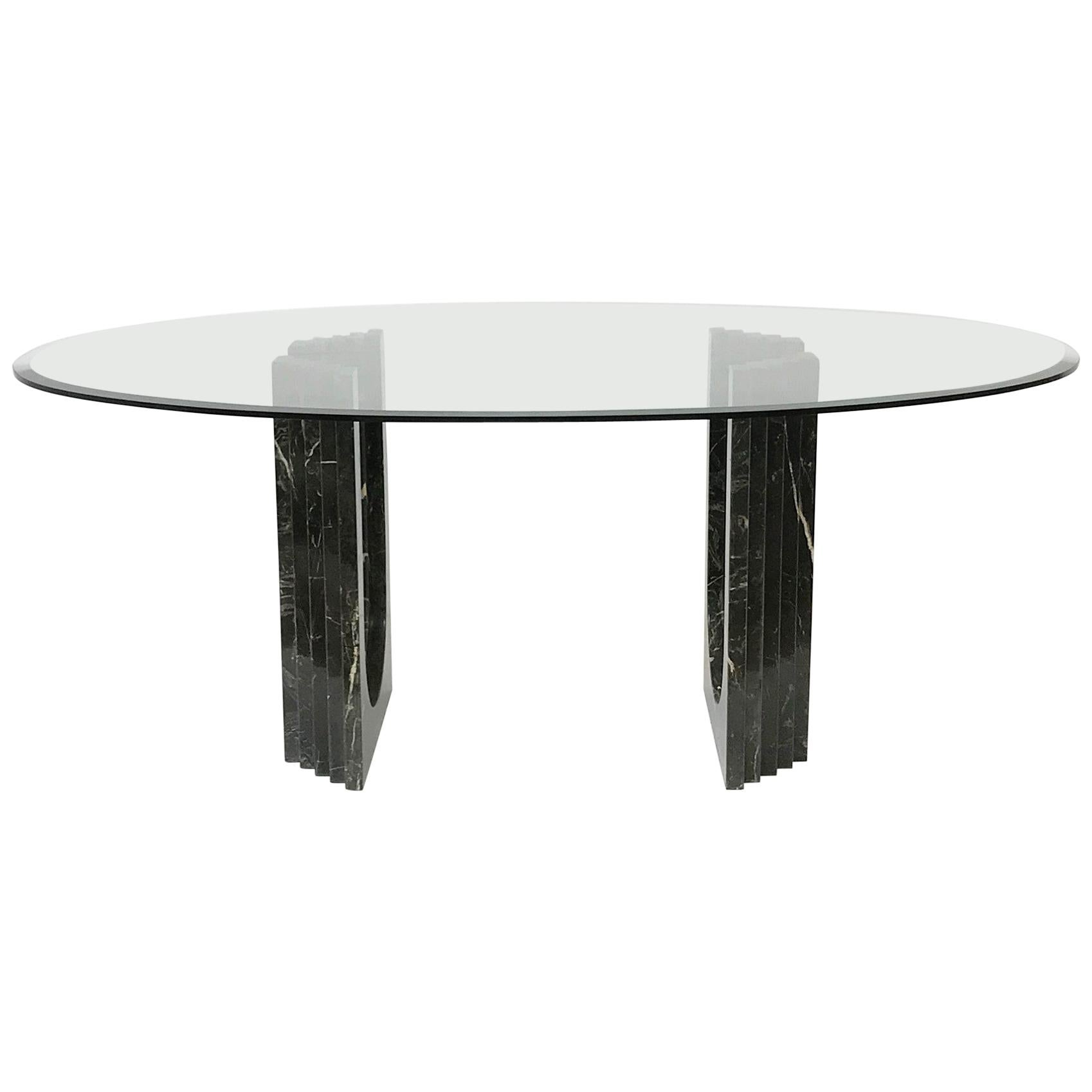 Black Marble and Beveled Glass Top Oval Dining Table