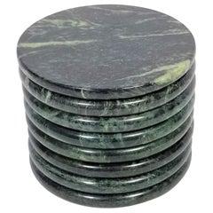 Green Marble Coasters Set of 8 Mid Century