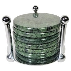 Green Marble Coasters with Chrome Holder Midcentury Set of 6