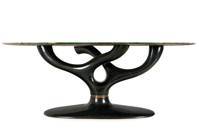 Mid-Century Modern Green Marble Dining/Center Table with Ebonized Base Attributed to Vittorio Dassi