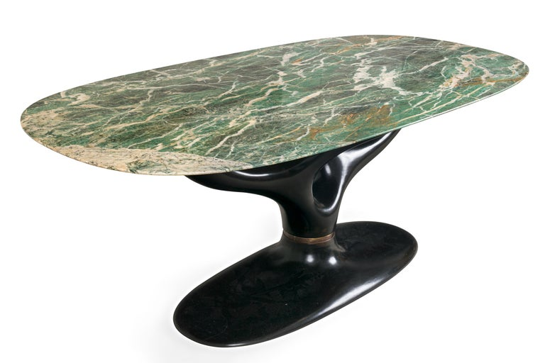 Italian Green Marble Dining/Center Table with Ebonized Base Attributed to Vittorio Dassi