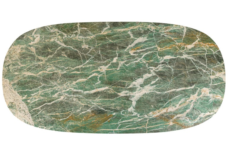 Painted Green Marble Dining/Center Table with Ebonized Base Attributed to Vittorio Dassi