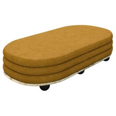 Green Marble & Gold Mohair Large Ottoman