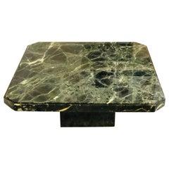 Green Marble Minimalist Modernist Coffee Table, 1970s
