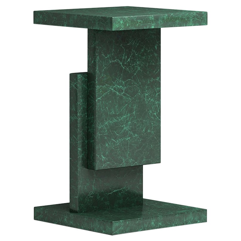 Green Marble Square Stack Side Table Geometric Customizable For Sale