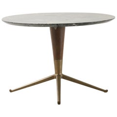 Green Marble Table, Brass Feet and Wood Stem Attributed to Melchiorre Bega 1950s