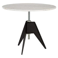 White Marble-Top Adjustable Height Screw Cafe Table