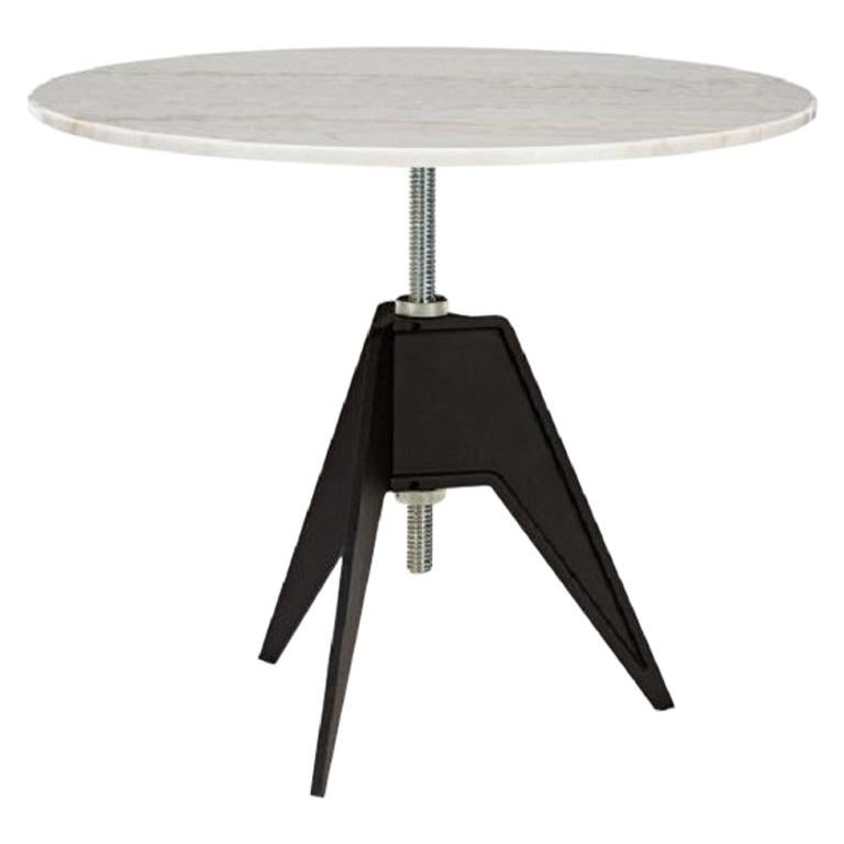 White Marble-Top Adjustable Height Screw Cafe Table For Sale