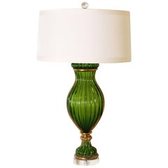 Green Marbro Murano Glass Lamp by Seguso, circa 1960