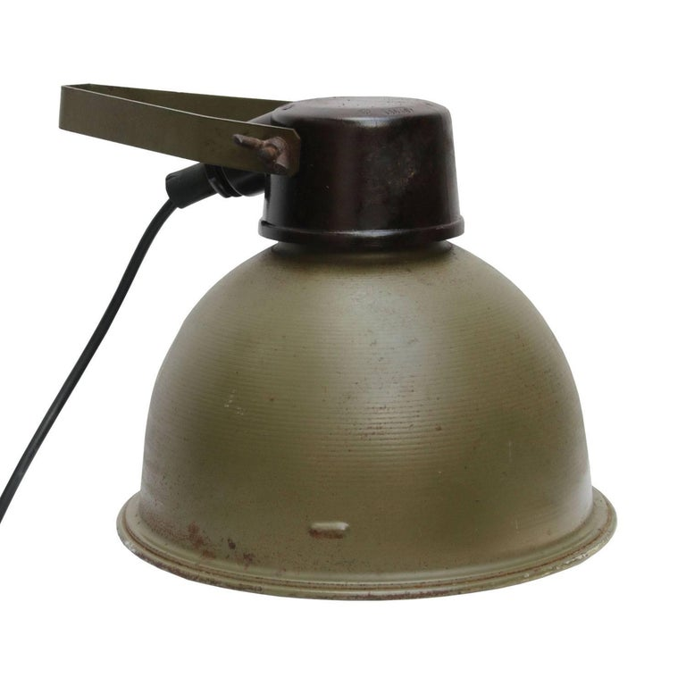 Metal wall spot light scone wall light. Army green metal shade. White interior. Bakelite top and adjustable in angle.  Weight: 0.5 kg / 1.1 lb.  Priced per individual item. All lamps have been made suitable by international standards for