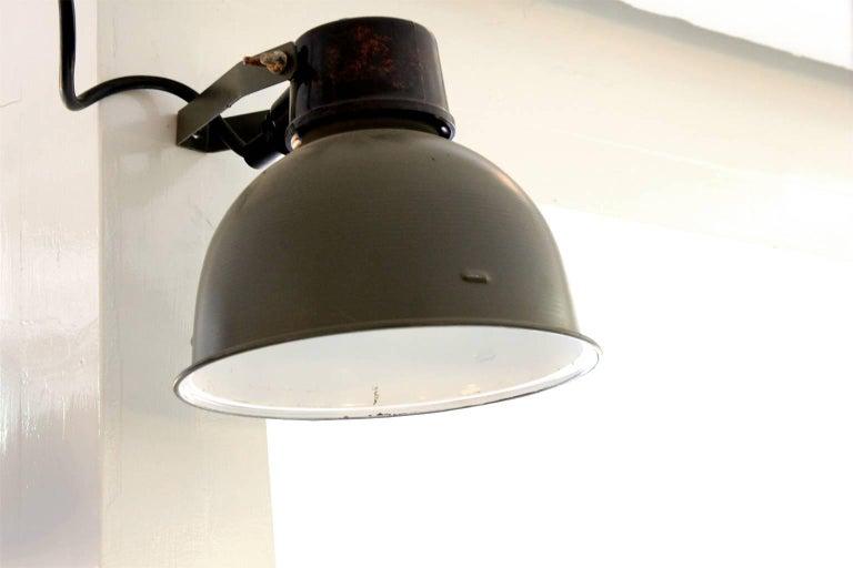 Aluminum Green Metal Vintage Industrial Bakelite Top Wall Lights Spots Scones For Sale