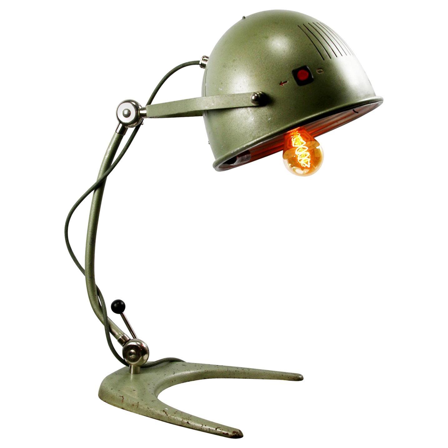 Green Metal Vintage Industrial Medical Desk Table Lamp